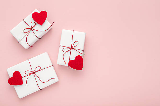 valentine day composition white gift boxes felt hearts copy space stock photo