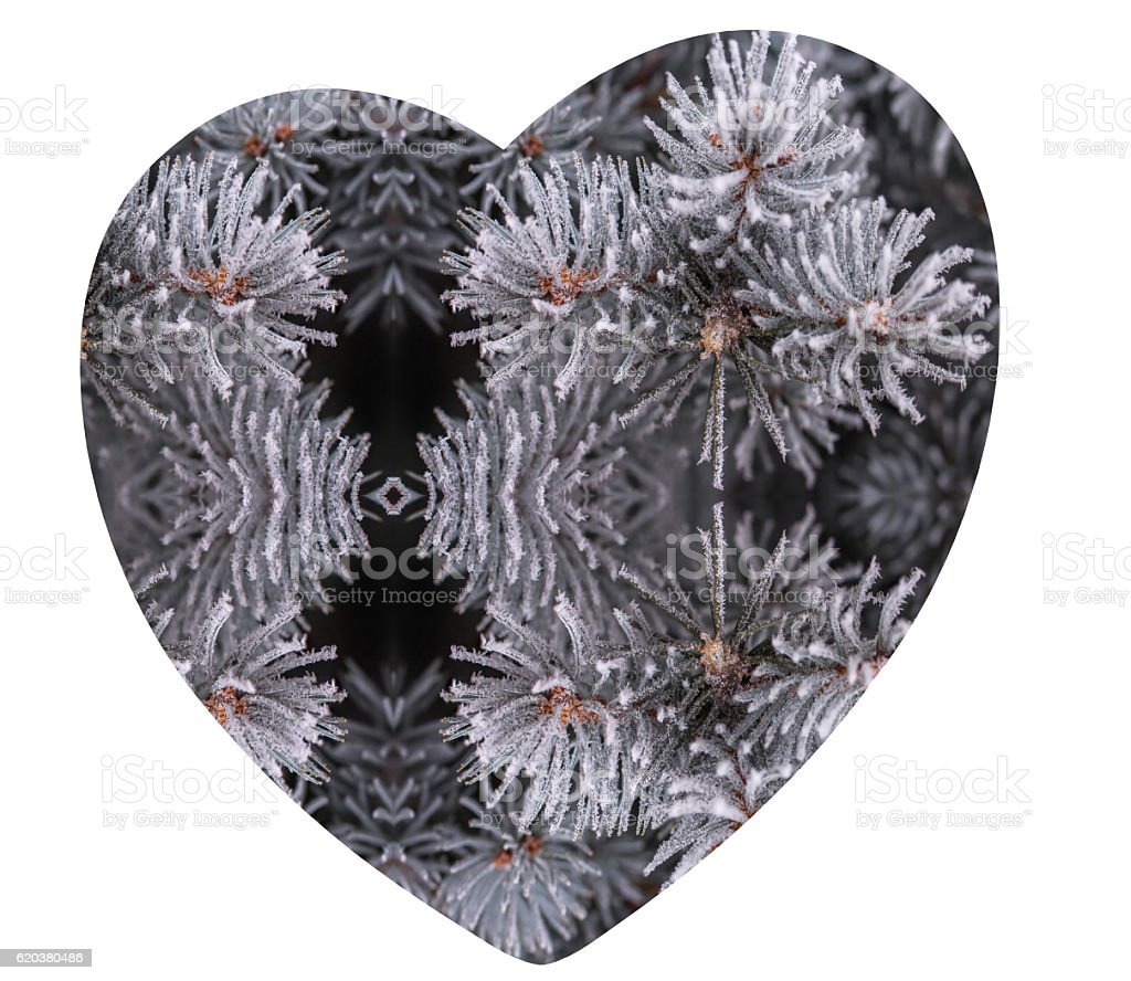 Valentine Day icy heart silhouette foto de stock royalty-free