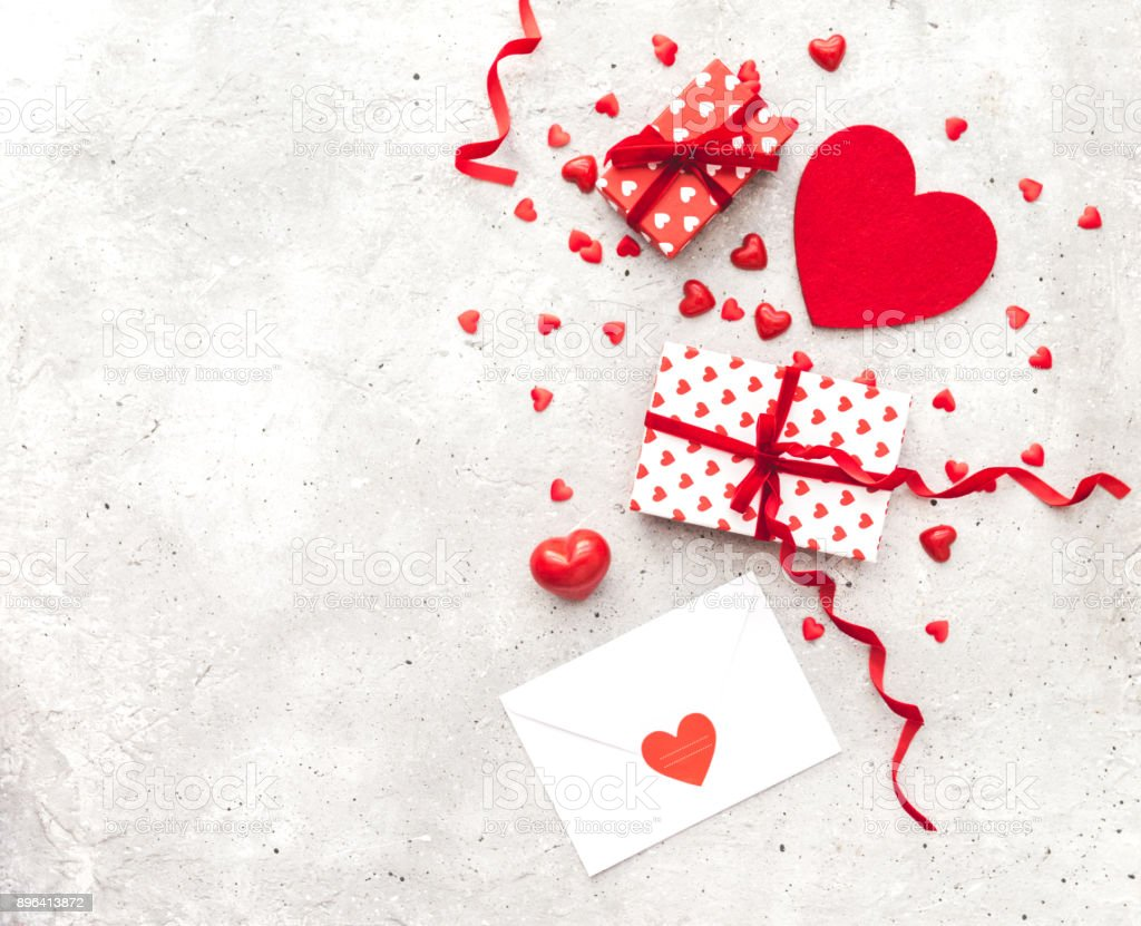 Valentine Day Love Letter Envelope With Red Hearts Heap Spread On