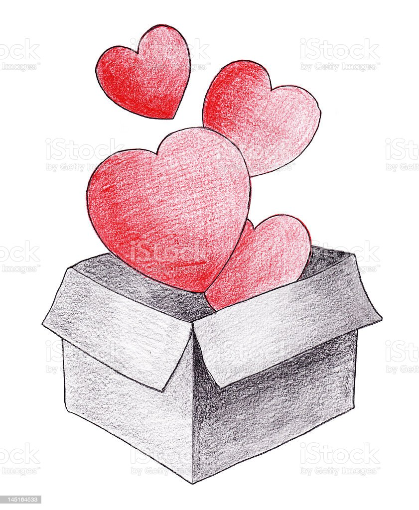 Valentine gift.Real drawing. royalty-free stock photo