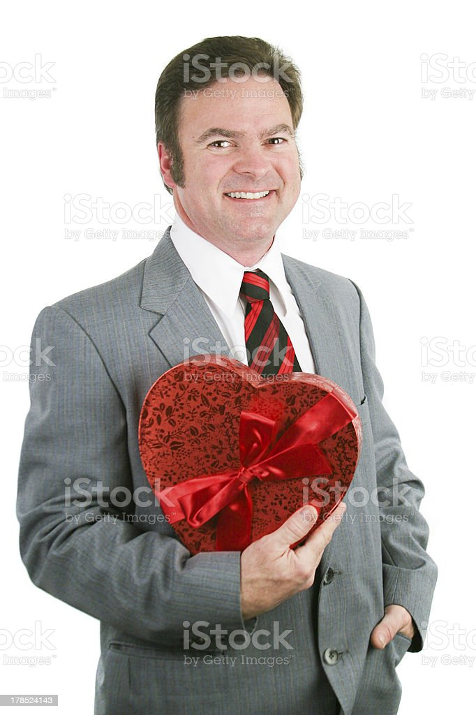 Valentine Guy Holding Heart royalty-free stock photo