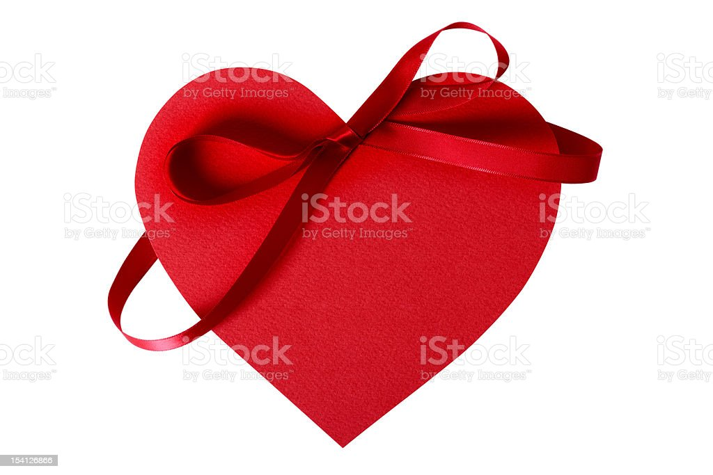 Valentine heart with red ribbon royalty-free stock photo