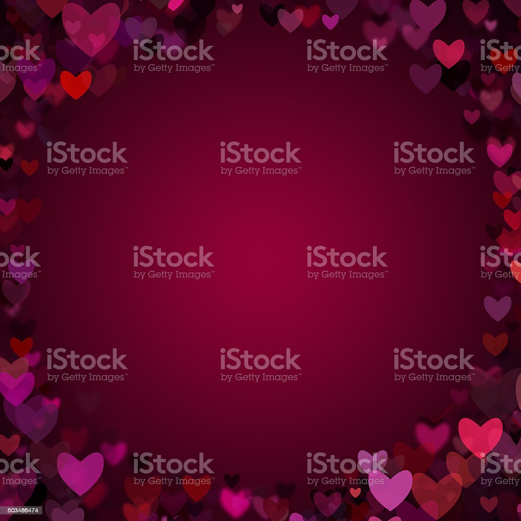 Valentine Hearts Vignette Frame Background stock photo