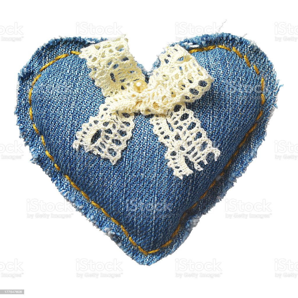 Valentine jeans heart. Isolated on white. royalty-free stock photo