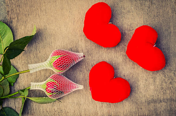 Valentine love symbol with two roses stock photo