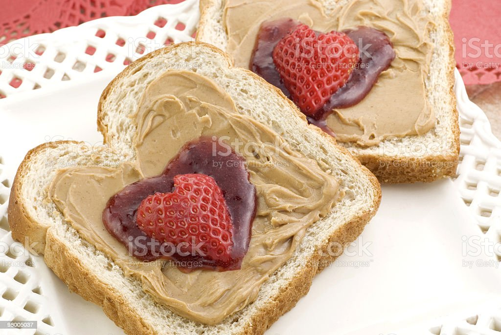 Valentine Peanut Butter and Jelly royalty-free stock photo