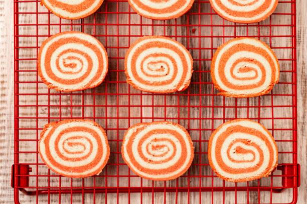 Valentine Pinwheel Cookies on Rack stock photo