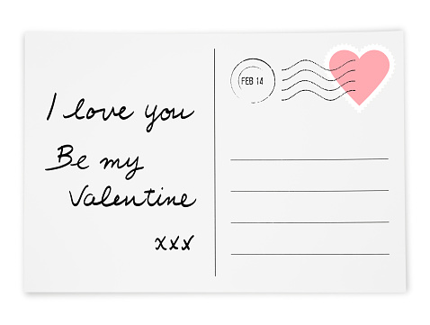 Valentine's day Postcard isolated on white (excluding the shadow)