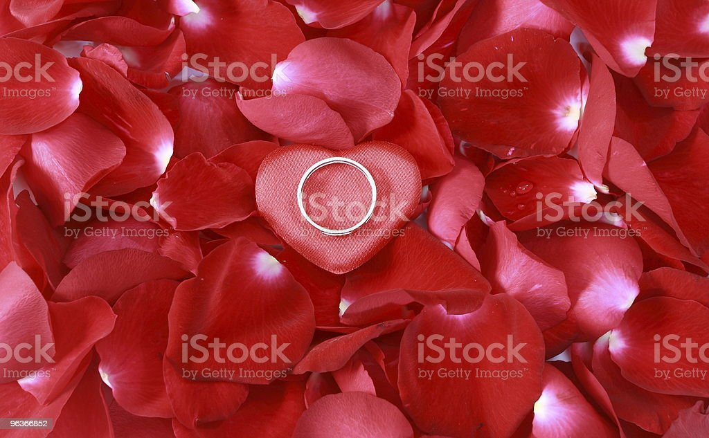valentine ring with rose petals in the background royalty-free stock photo
