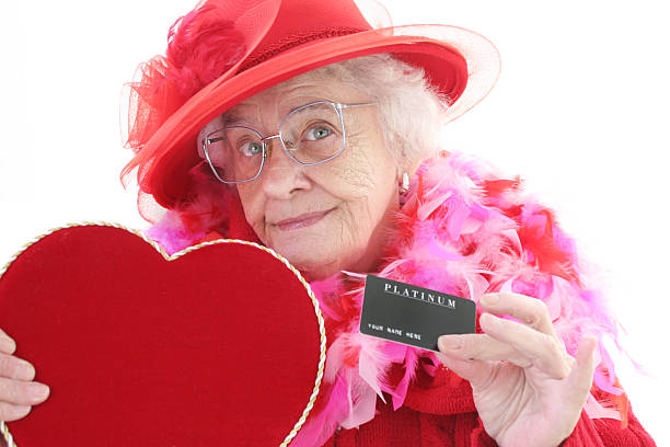 valentine shopping - senior valentine stock photos and pictures
