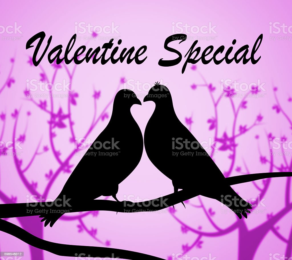 Valentine Special Indicates Valentines Day And Bargains stock photo