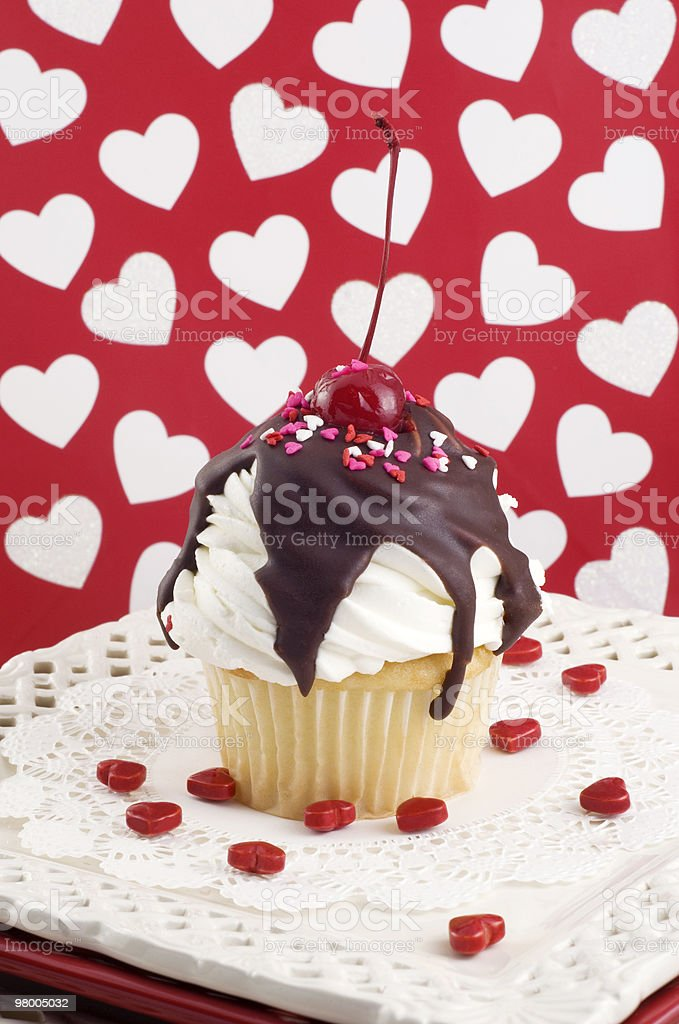 Valentine Sundae Cupcake royalty-free stock photo