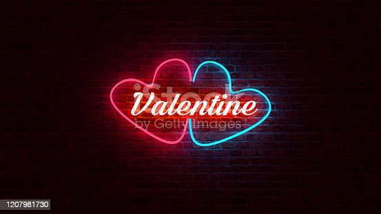1140718043 istock photo Valentine text and heart shape neon light glow on brick wall with 3d rendering. 1207981730