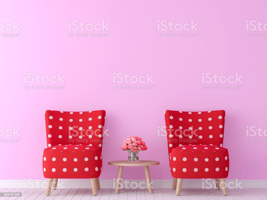 valentine theme living room 3d rendering image stock photo