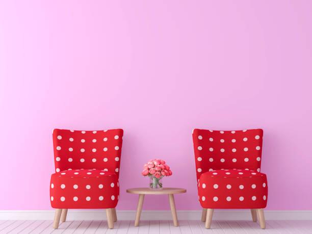 valentine thema wohnraum rendering 3d-bild - hellrosa zimmer stock-fotos und bilder