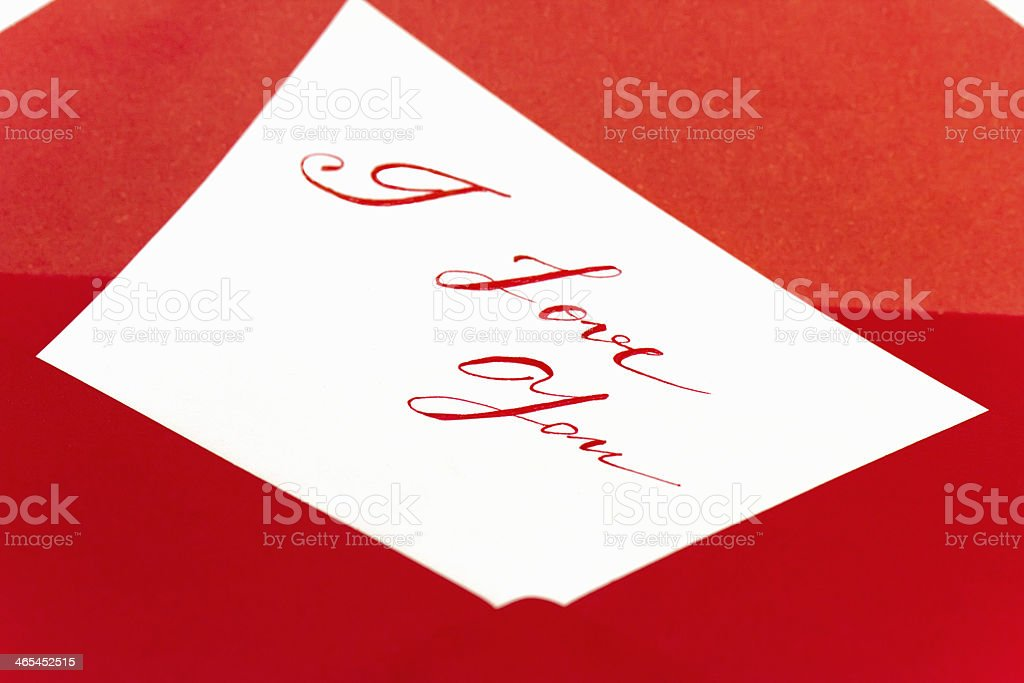 valentines card with red envelope royalty-free stock photo
