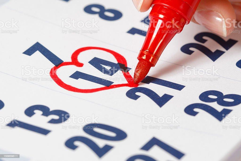 Valentine's Day 14th february - calendar royalty-free stock photo