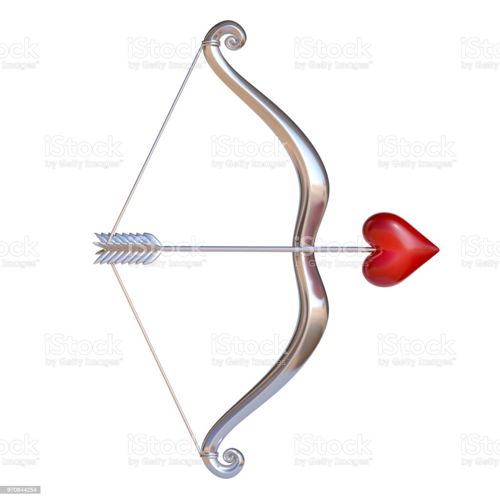 Valentines Day 3d Icon Cupid Bow And Arrow With The Heart Stock