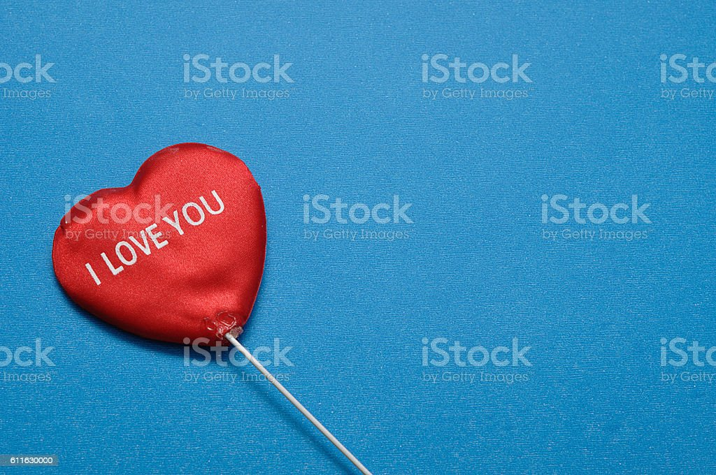 Valentine's Day. A red heart with I love you stock photo