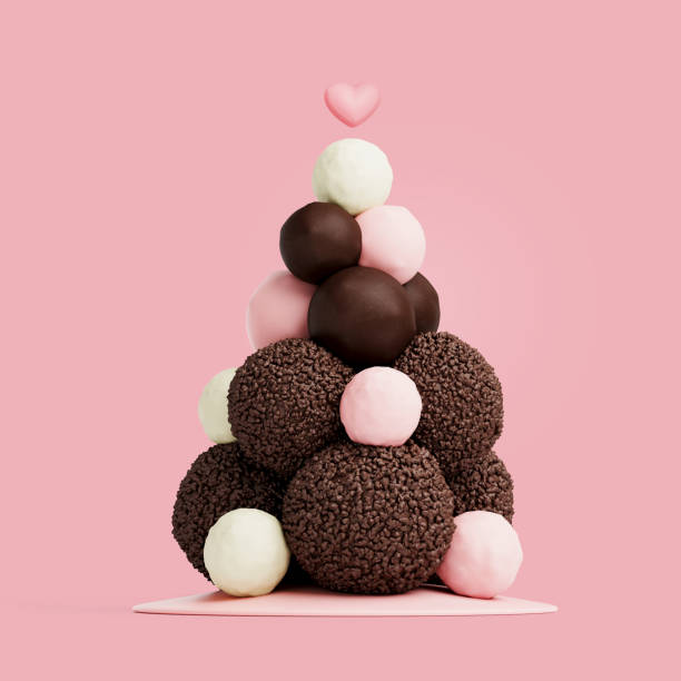 valentinstag und liebe hintergrund.  süßer baum aus schokoladenkugel mit rosa herz auf rosa hintergrund. 3d-render. - kunst 1. klasse stock-fotos und bilder