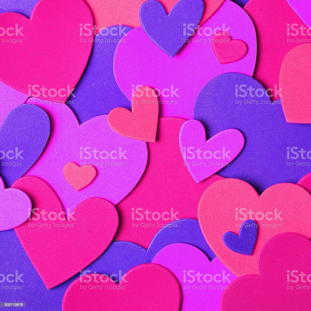 Valentine's Day background. Colorful paper hearts stock photo