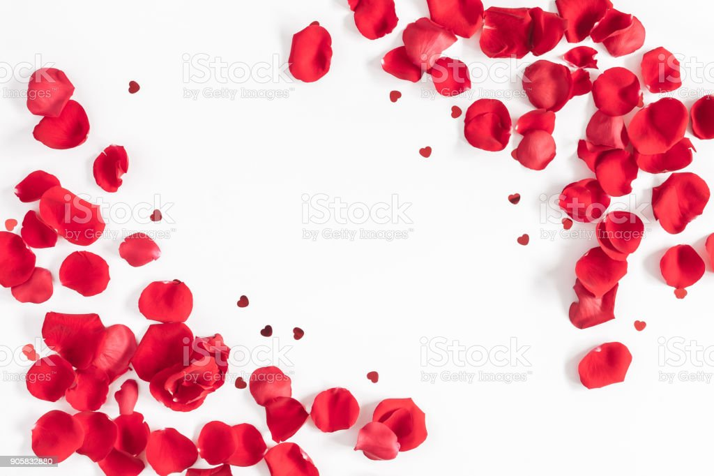 Valentines day background. Flat lay, top view, copy space royalty-free stock photo