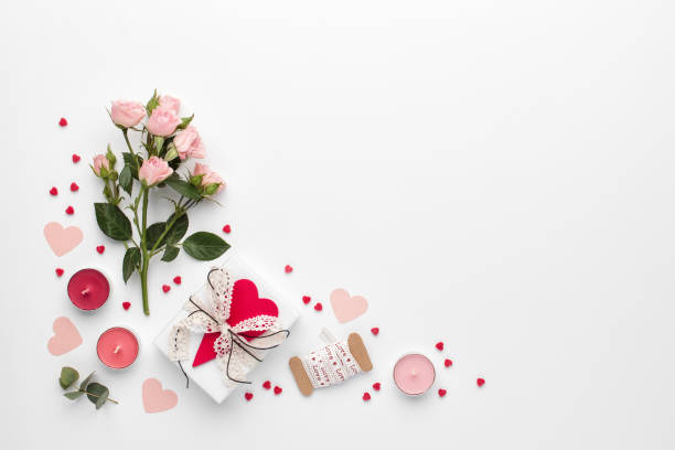 Valentines day background. Flat lay, top view, copy space. stock photo