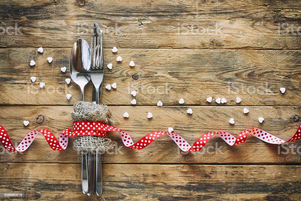 valentine's day background, fork, knife, ribbon stock photo