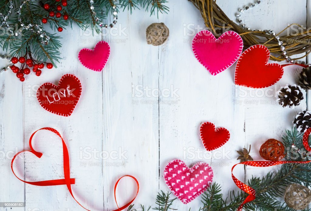 Valentines Day Background Hearts And Branches Of A Christmas Tree On