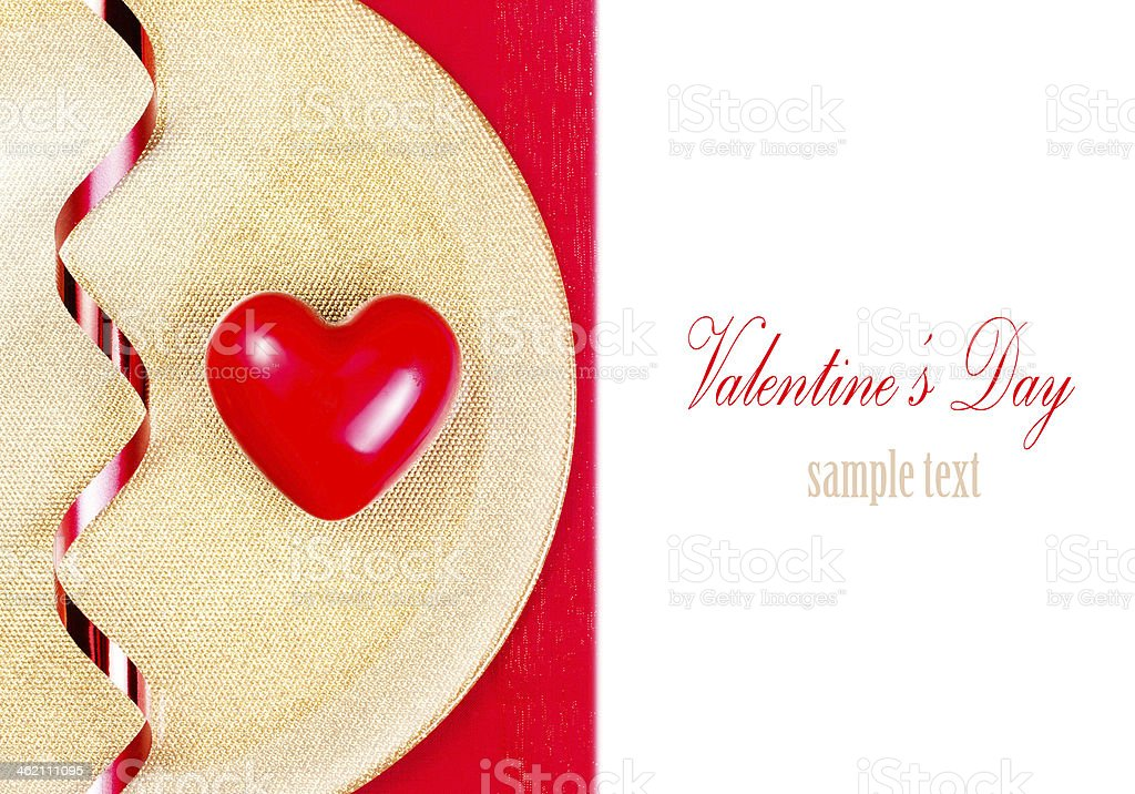Valentines Day background. Red Heart over gold plate royalty-free stock photo