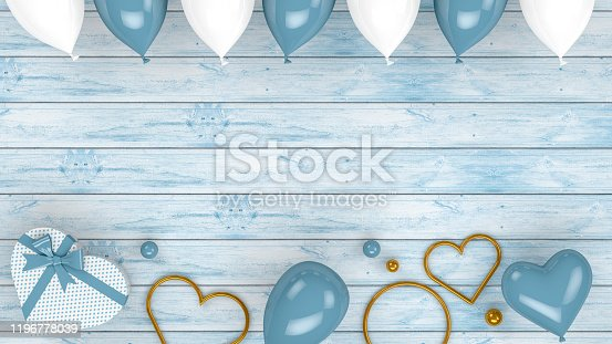 1085249444 istock photo Valentines Day Background with Balloons and Heart Shape Gift Boxes, 3d rendering 1196778039
