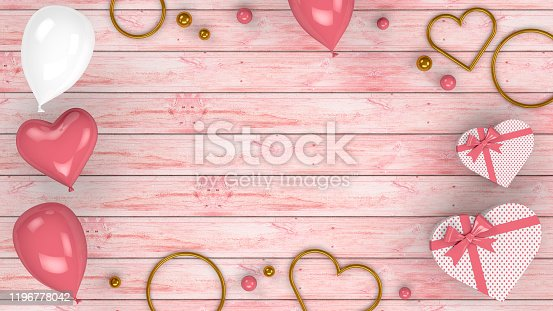 1085249444 istock photo Valentines Day Background with Balloons and Heart Shape Gift Boxes, 3d rendering 1196778042