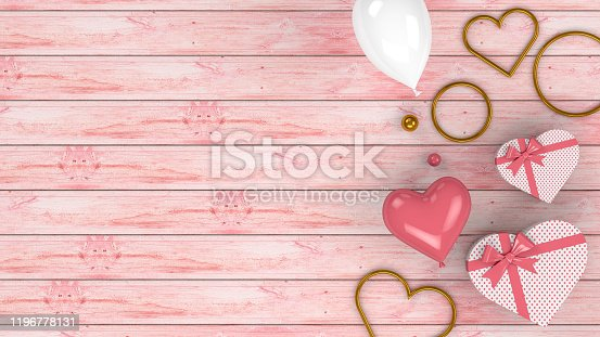 1085249444 istock photo Valentines Day Background with Balloons and Heart Shape Gift Boxes, 3d rendering 1196778131