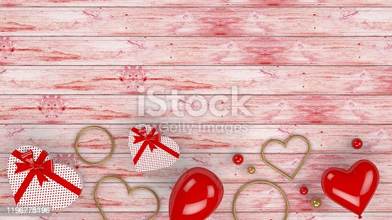 1085249444 istock photo Valentines Day Background with Balloons and Heart Shape Gift Boxes, 3d rendering 1196778196