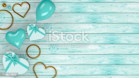 1085249444 istock photo Valentines Day Background with Balloons and Heart Shape Gift Boxes, 3d rendering 1196778251