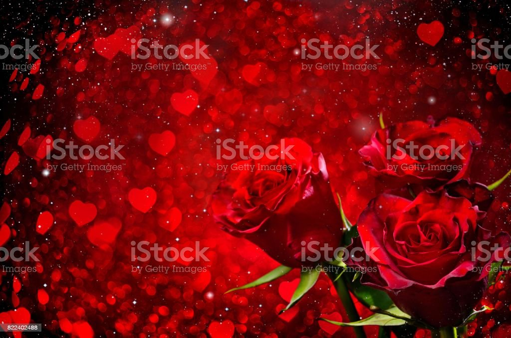 Valentines day background with roses stock photo