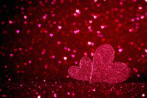 896306118 istock photo valentines day background with two pink hearts and copy space for text, be mine and love  concept 1199178001