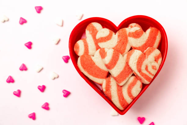 Valentine's Day Baked Heart Cookies With Candy stock photo