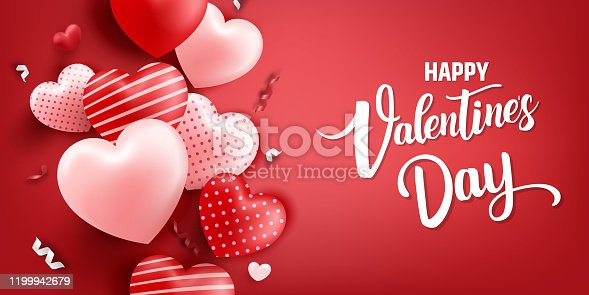 Valentine's day background concept. Valentine's day banner with hearts and decoration elements. Illustration stock