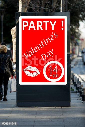 507397624 istock photo Valentine´s day billboards at city street 506341546