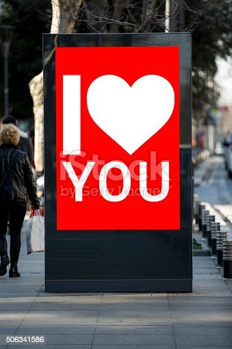 507397624 istock photo Valentine´s day billboards at city street 506341586
