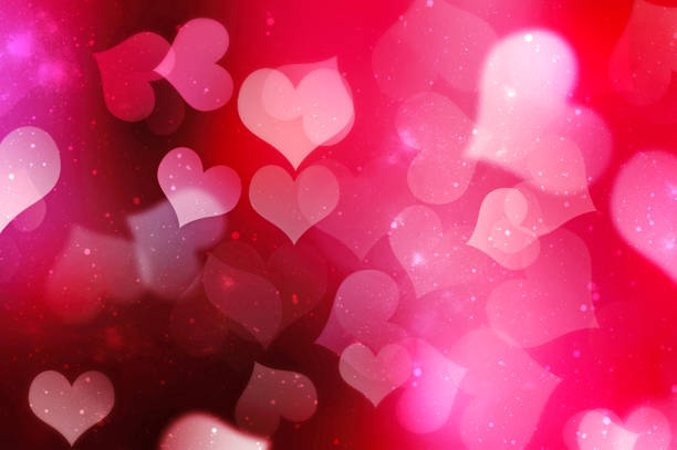 valentines day blurred hearts background. - heart shape stock photos and pictures