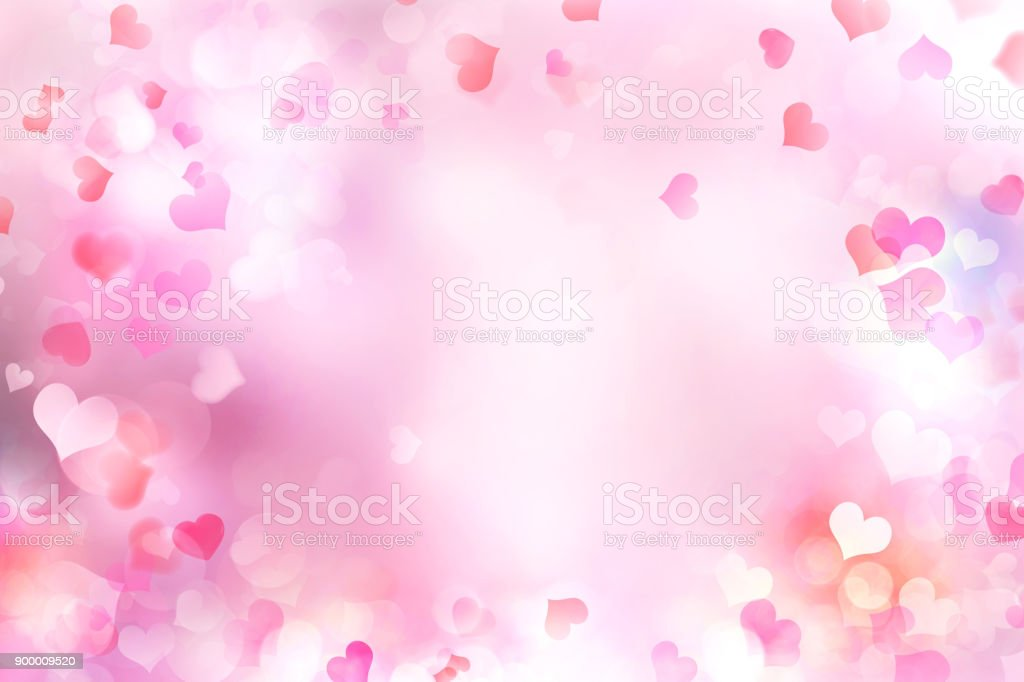 Valentine's day blurred hearts background. stock photo