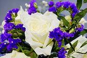 Close-up Valentine's Day Bouquet purple White flowers