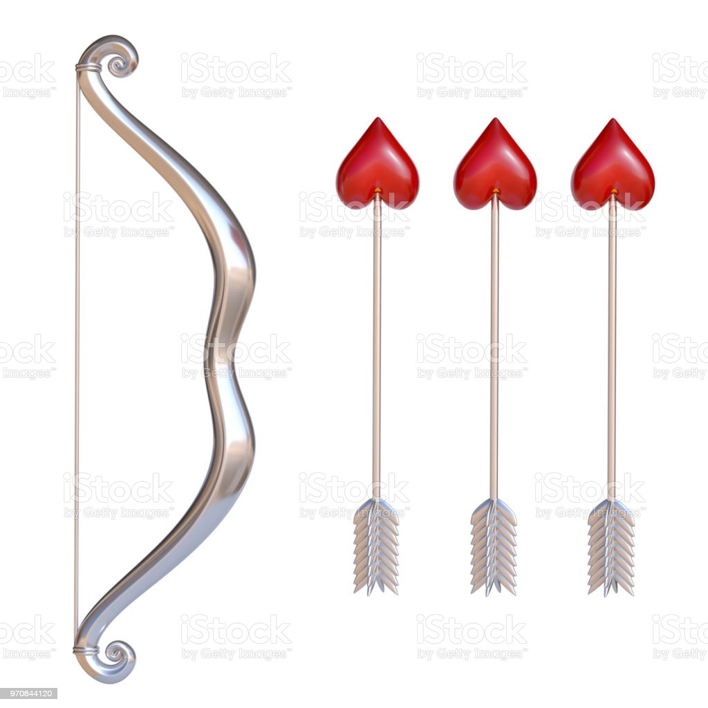 Valentine's day bow and arrows, cupid bow and arrows with the heart-shaped end set stock photo