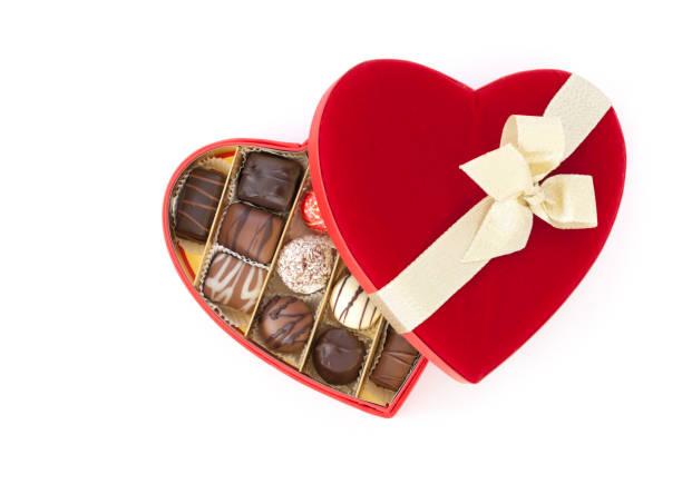 Valentine's Day Box of Chocolates Isolated on White stock photo