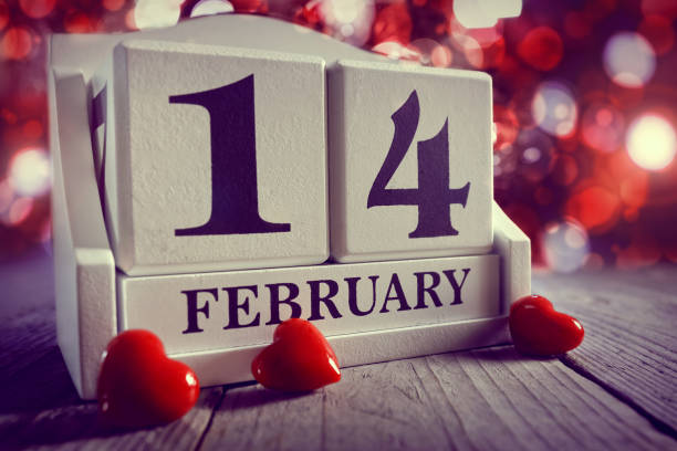 Valentines day calendar showing 14  February stock photo