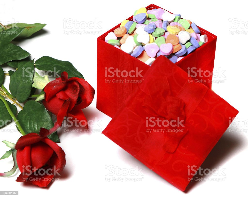 Valentine's  Day candy and red roses royalty-free stock photo