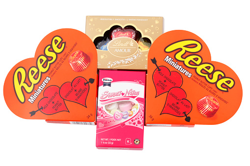 Valentines Day Candy With Reese Lindt And Rito Products Stock Photo