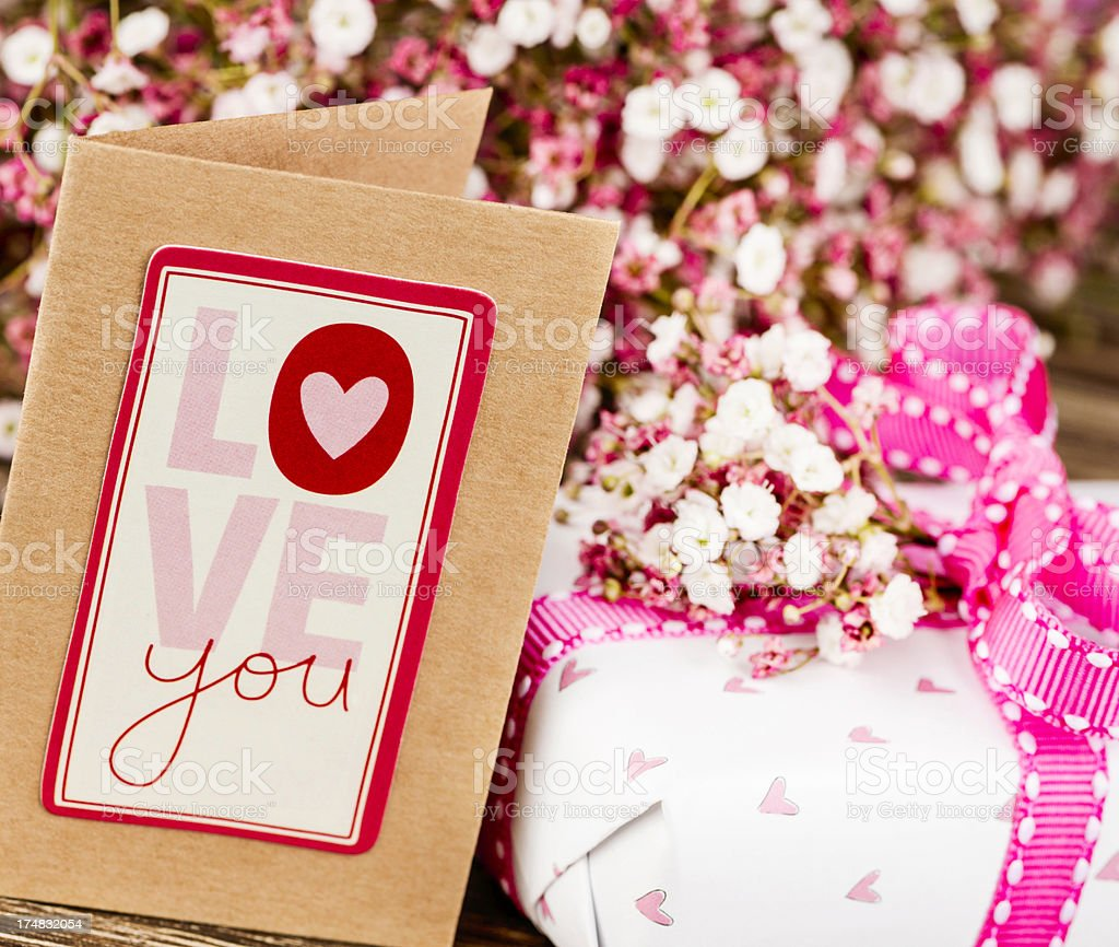 Valentine's Day Card and Gifts royalty-free stock photo